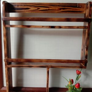 Rak bumbu berbahan kayu, ukuran 60cm x 10cm x 80cm
